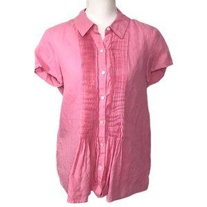 Talbots Linen Pintuck Short Sleeve Blouse